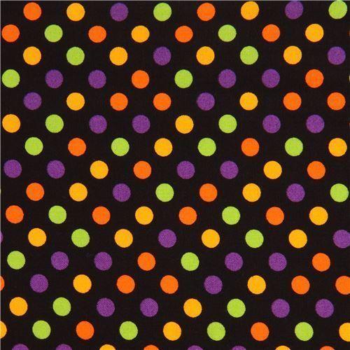 details about spot on fabric medium multi color dot halloween premium cotton quilt fabric - Halloween Prints