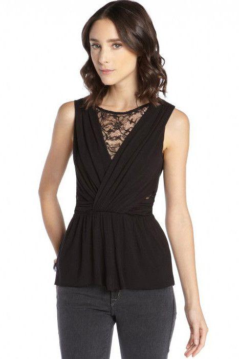 Prix: €12.55 Tops Clubwear Noir Jersey Et Dentelle Cutout Haut Sans Manches Pas Cher www.modebuy.com @Modebuy #Modebuy #Noir #sexy #me