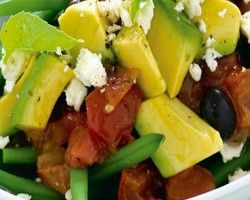 Avocado Roasted Tomato Salad is made of tomato, beans, avocados, cheese and basil leaves. We can make tasty and healthy salads using all these vegetable.