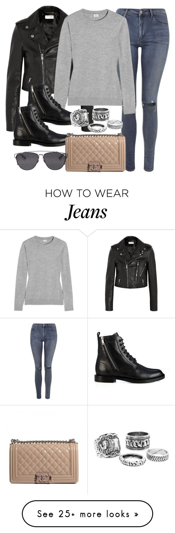 """Style #9454"" by vany-alvarado on Polyvore featuring Yves Saint Laurent, Topshop, Iris & Ink, Chanel and Christian Dior"