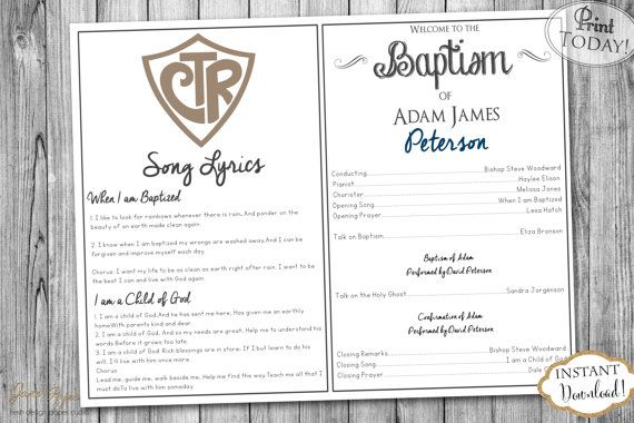 INSTANT DOWNLOAD LDS Baptism Program Fully by JanePaperie                                                                                                                                                                                 More