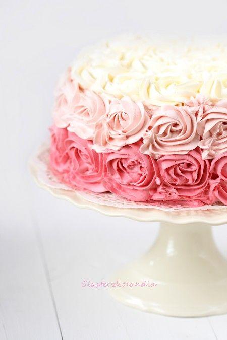 Tort w róże / Ombre rose cake