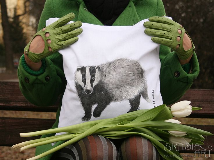 Cotton bag with a painted badger; christmas gift