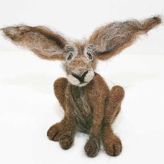 Needle felted hare/Hare sculpture/Fibre art/Gift for her/Gift