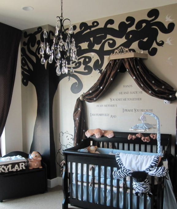 Brown and blue nursery.  Love the chandelier.