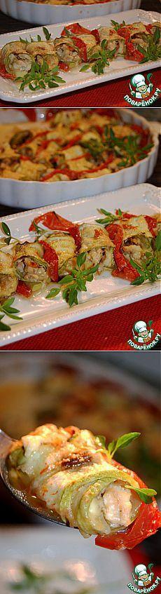 Рулетики из кабачков с сыром, курицей и белыми грибами - кулинарный рецепт