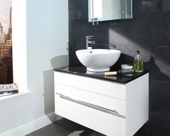 white + dark grey slate bathroom