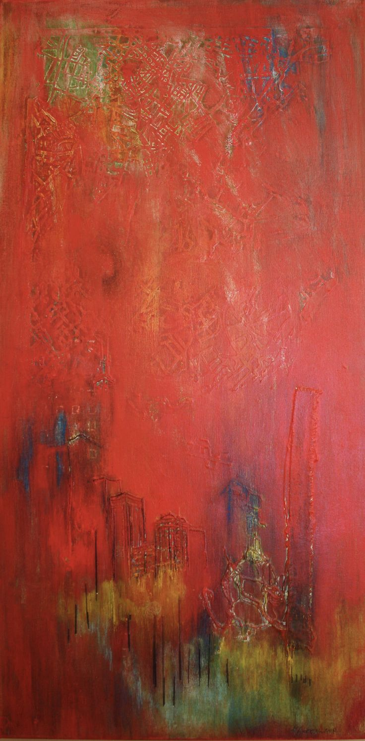 """""""Red Dawn"""" ©Karen Goetzinger 36"""" x 18"""" hand stitched thread, collage fabric and paper, oil on stretched canvas"""