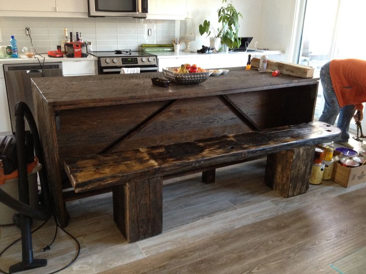 9 Foot Kitchen Island Made Of Red Oak With Cobblers Bench