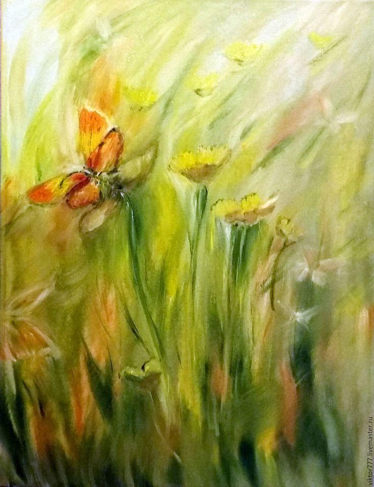 Купить Бабочки. - салатовый, бабочки, луговые цветы, лето, подарок на любой… Картина продана.