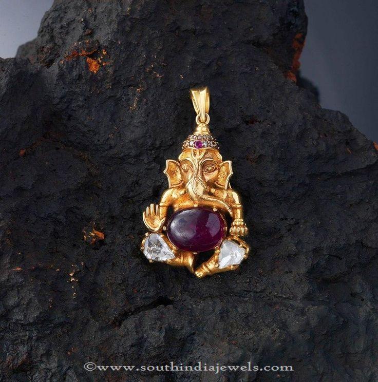 Gold Ganesh Pendant Designs, Gold Chain Pendant Designs, Simple Gold Pendant Designs.