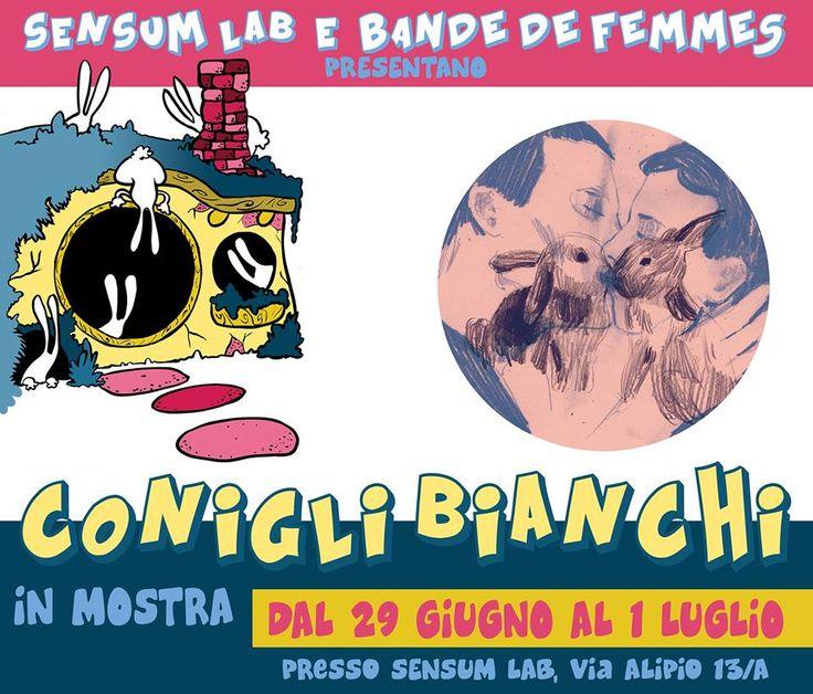 CONIGLI BIANCHI & LINOLAUD a SENSUMLab! #bandedefemmes #illustration #screenprinting #coworking #rome