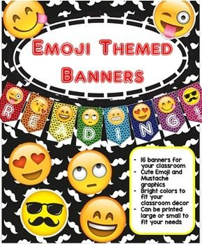 Emoji Themed Banners         Perfect for your classroom bulletin boards, center signs, and classroom decorating. These can be printed in many sizes by simply choosing to print one per page OR multiple per page on your computer at home. That way they can fit in your classroom anywhere!
