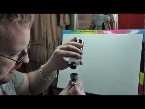 ▶ Airbrush fine detail with waterbased paint Pt1 - Auto Air - YouTube