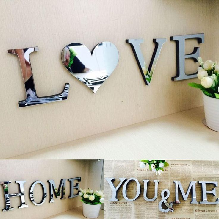 acrylic 3d mirror wall stickers love characters letters home decoration English alphabet acrylic Christmas STICKERS w5 #Affiliate