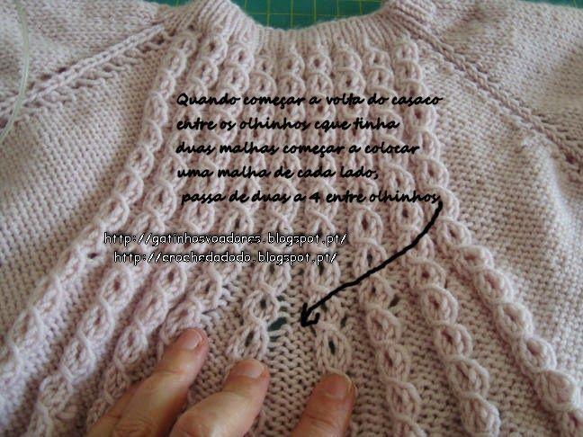 Olá hoje trago um casaco que ando a fazer para a minha neta, inspirei-me em um vestido que vi     e     era receita paga e por isso puxe...