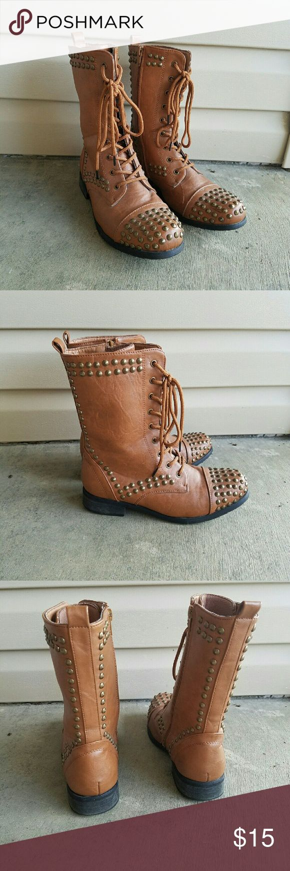 Studded Combat boots Lightly worn studded combat boots for the fall or winter season! Size 7/8: up for any offers Rue 21 Shoes Combat & Moto Boots