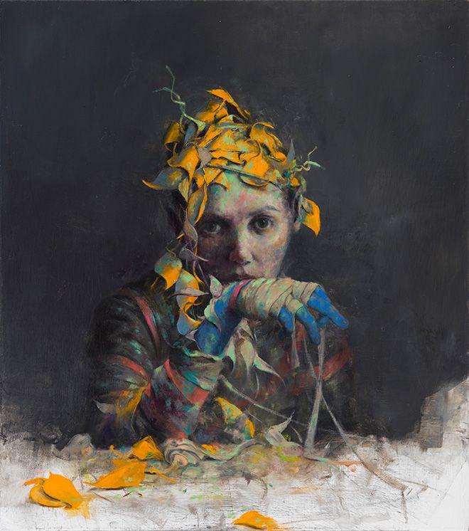 Jonas Burgert - Schmiege / Stringia, 2016, olio su tela, 90 x 80 cm, Collezione privata, Berlino. photo © Lepkowski Studios