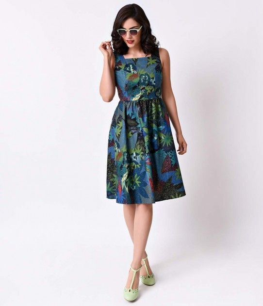 Folter Retro 1950s Deep Green Vintage Tiki Sleeveless Swing Dress