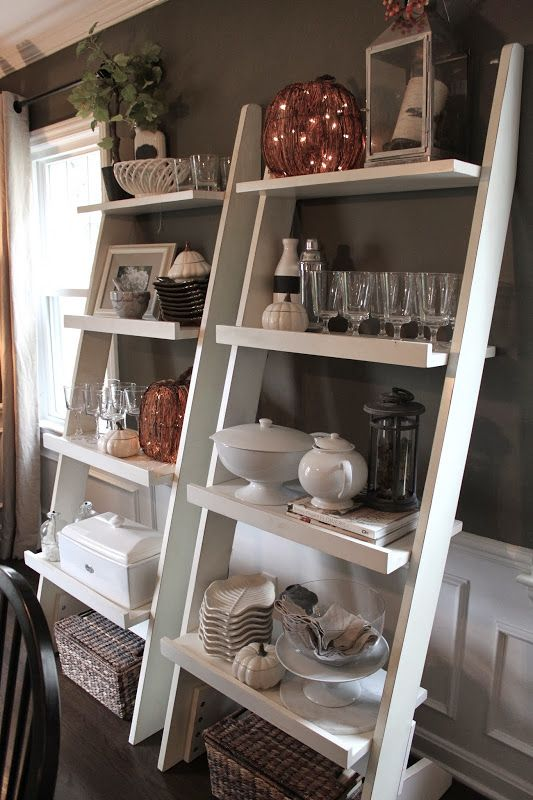 I could put these on either side of the  window in the dining room to create some shelving. Pallet project maybe?