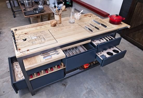 2- Ultimate Chef's Work Table _ From Chef Liam Tomlin, founder of the Chef's Warehouse Cookery School. It includes cutting boards, removable cheese boards, glass holders, a wine rack, knife holders, an extendable hot pot stand, as well as storage drawers shelves for additional kitchen equipment; it can also be customized to include a power supply a sink. I want one!