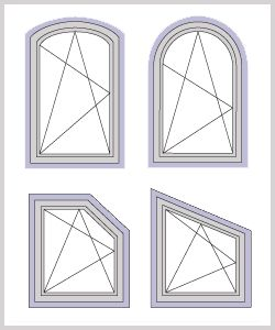 Our windows can be manufactured in many architectural shapes including; half rounds, extended half rounds, extended segmentals, eyebrows, quarter rounds, rounds, octagons, extended octagons, ovals, elipticals, triangles, pentoids and trapezoids. If you or the architect can design it, our specialty department can most likely build it! For more information, please call Toll Free: 1-877-606-1166 or click the image: