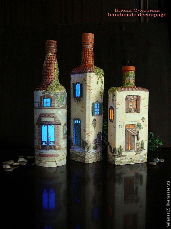 """Освещение ручной работы. Ярмарка Мастеров - ручная работа Бутылка-светильник """"Дом, милый дом! - 4"""". Декупаж бутылки. Handmade."""