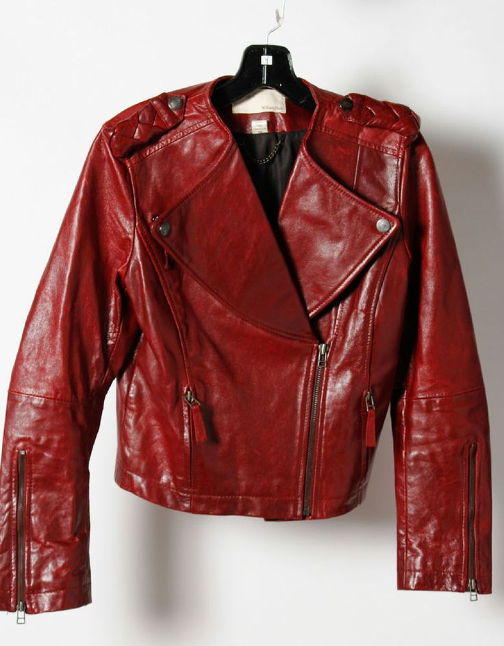William Rast Cherry Leather Long Sleeve Side Zip Fitted Jacket Size M #WilliamRast #FittedJacket