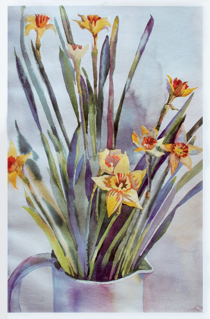 #нарциссы, #watercolor, #цветы #акварель #flowers #painting