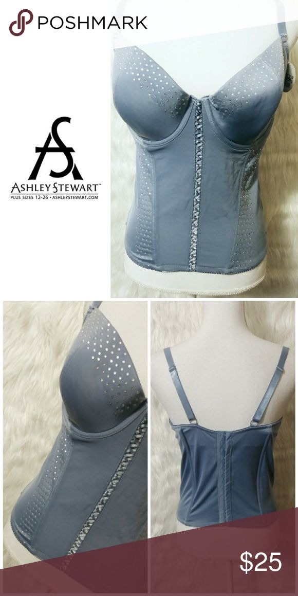 6e2fd35331396f 💖 NWT Ashley Stewart Lingerie 💖 Slate blue bustier with rhinestones  Marked size 2X 💖use the