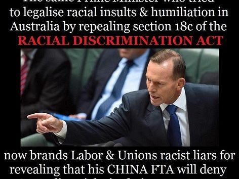 PM Abbott trying the race card over Labor's response to the Chinese free trade deal wasn't as surprising as the mainstream media's blind acceptance of the slur, writes Dr Mark Rolfe. https://independentaustralia.net/politics/politics-display/tame-media-let-adversarial-abbott-play-race-card-in-chinese-trade-deal-debate,8093