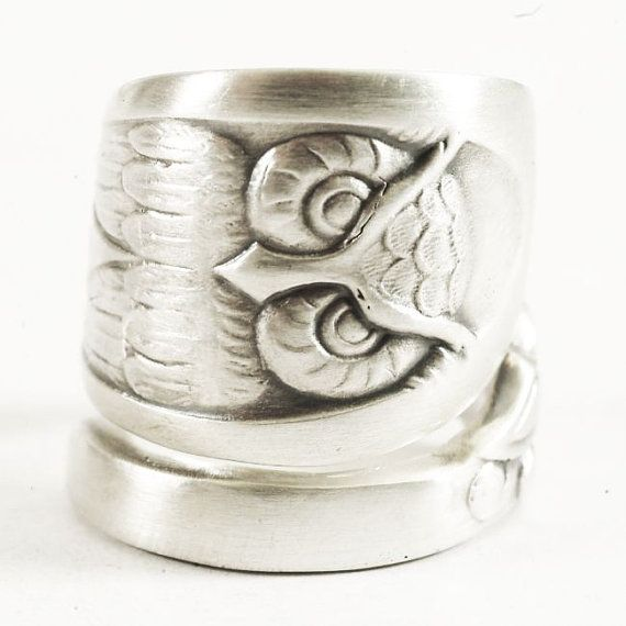 Owl Ring Boho Spoon Ring with Owl Bird Sterling Silver by Spoonier