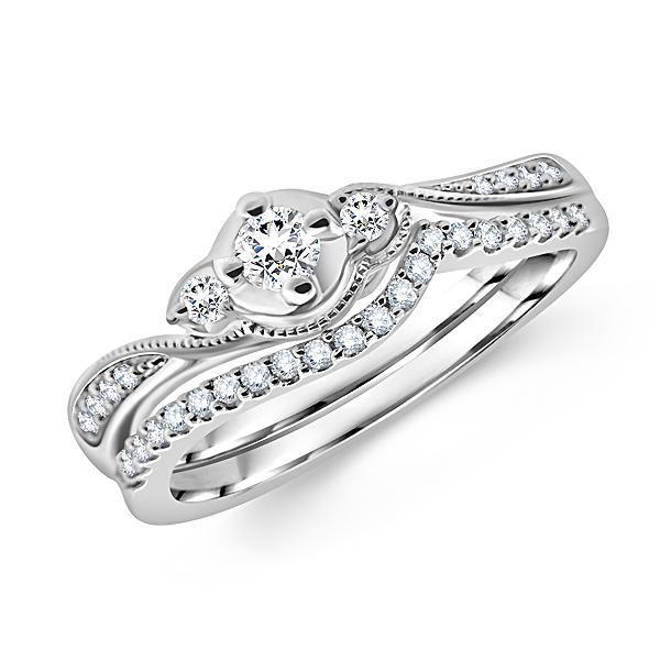 Three Stone Round Diamond Ring And Ladies Bridal Wedding Set Http Www