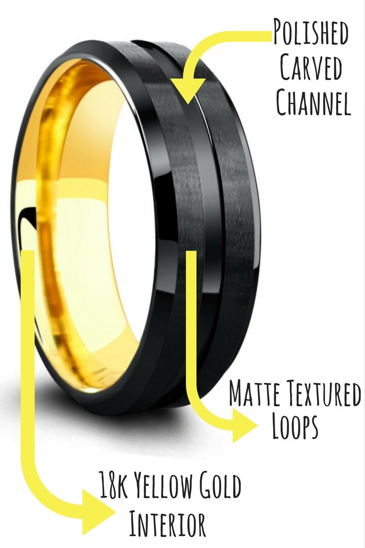 The perfect mens wedding band! This black tungsten wedding band features a 18K yellow gold interior. Pulling in both the classic mens wedding band and the modern mens wedding band. I love the textures on this unique ring!
