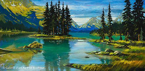 David Langevin, 'Spirit Of The Rockies', 24'' x 48'' | Galerie d'art - Au P'tit Bonheur - Art Gallery