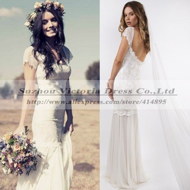 Find More Wedding Dresses Information about Vestidos De Noivas 2015 Rendas Sexy Cheap Vintage Hippie Wedding Dresses Lace Backless Wedding Dresses Boho Vestidos De Boda,High Quality Wedding Dresses from Suzhou Victoria Dress Co., Ltd on Aliexpress.com