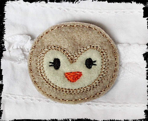 handmade machine embroidered snowy owl face by kellyjoe on etsy 350
