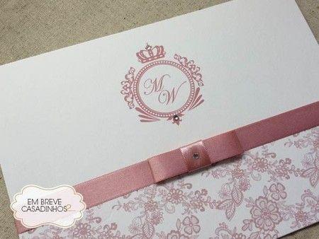Convite Clássico Rosé Chic, convite de casamento elegante, convite chique