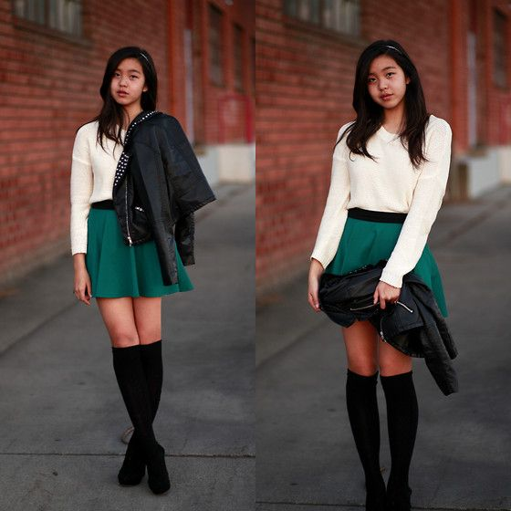Forever 21 Sweater, Forever 21 Circle Skirt, H Spiked Leather Jacket, Urban Outfitters Spiked Headband
