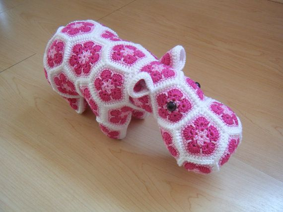 Crochet hippopotamus made out of African Flowers