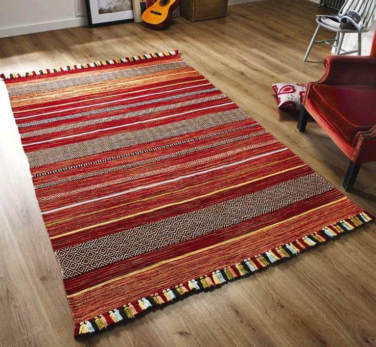 Kilim Stripe Red Rugs | Modern Rugs