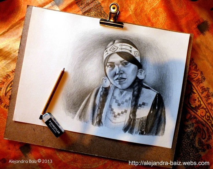Pencil drawing from a Native American girl old photo.