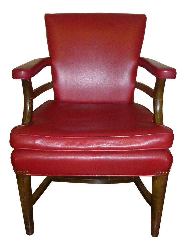 1960s vintage red leather arm accent chair on