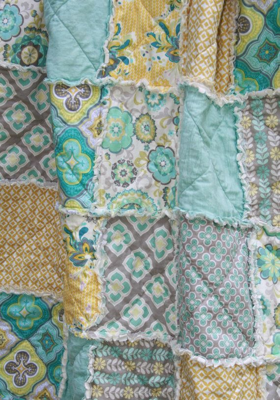 Crib Rag Quilt Gender Neutral Nursery Crib Bedding Aqua Gray Yellow Nursery on Etsy, $118.95