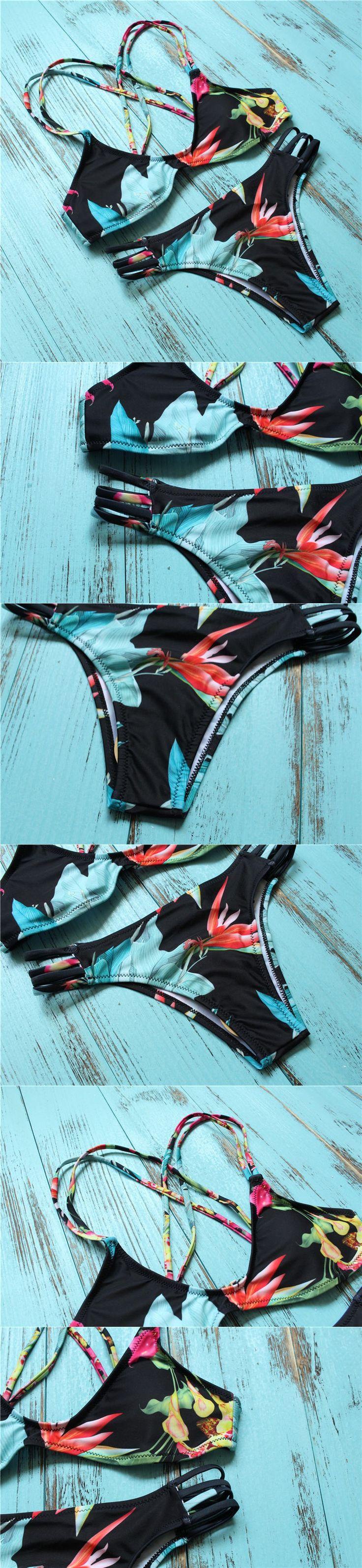 Plavky Brazil 2016 Sport Bikinis Bandage Strappy Bathing Suit Micro Mini Thong Swimwear Women Bottoms Sets Padded Push Up Bikini $7.36