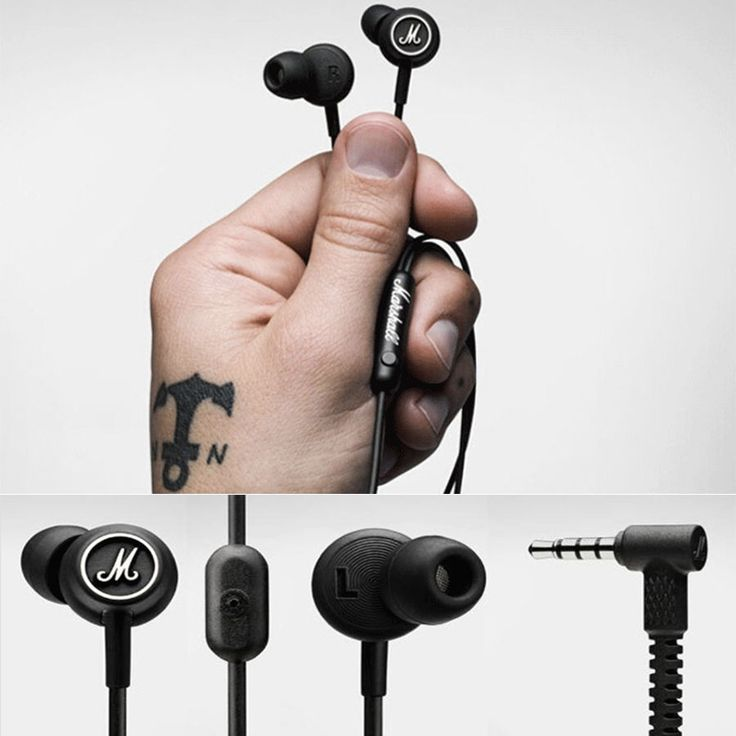 Marshall Mode EQ Earphones Headphones In-Ear Earbuds Microphone & Remote - hs #MARSHALL