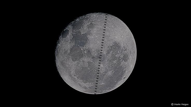 International Space Station Moon transit time-lapse