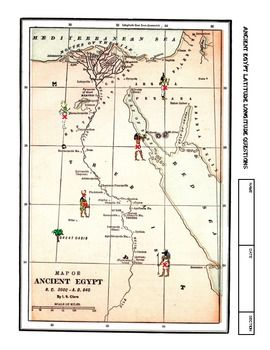 Worksheet ANCIENT EGYPT Latitude Longitude Questions & Map A two worksheet lesson on latitude and longitude using a map of Ancient Egypt.  It provides map reading practice as well as background information on Ancient Egypt.  There is a Key provided.  Good practice for all middle school students.