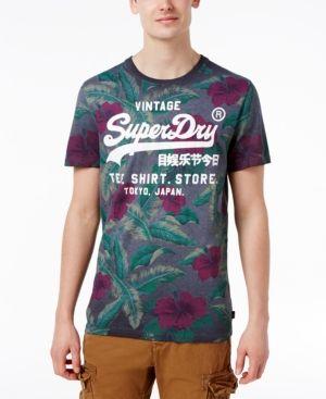 Superdry Men's Surf Store Floral Graphic-Print Logo Cotton T-Shirt  - Orange XXL