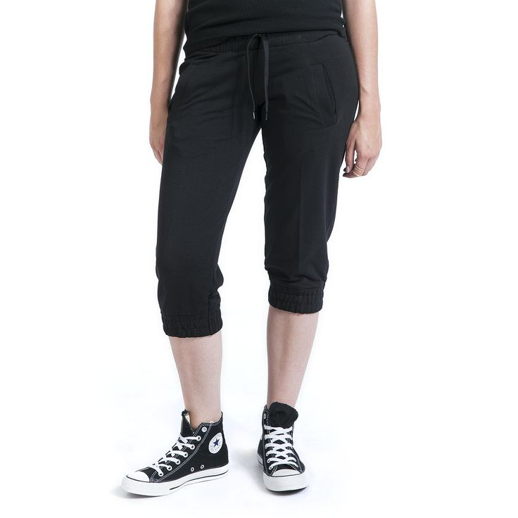"""#Pantaloni neri """"Ladies French Terry Capri"""" di Urban Classics lunghi fino alle ginocchia."""